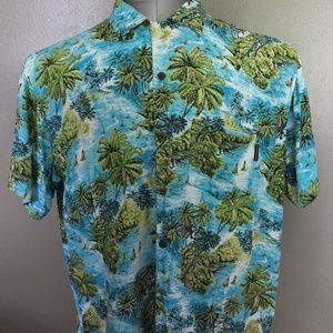 Sundrenched Australia Hawaiian Polo Shirt Large A2
